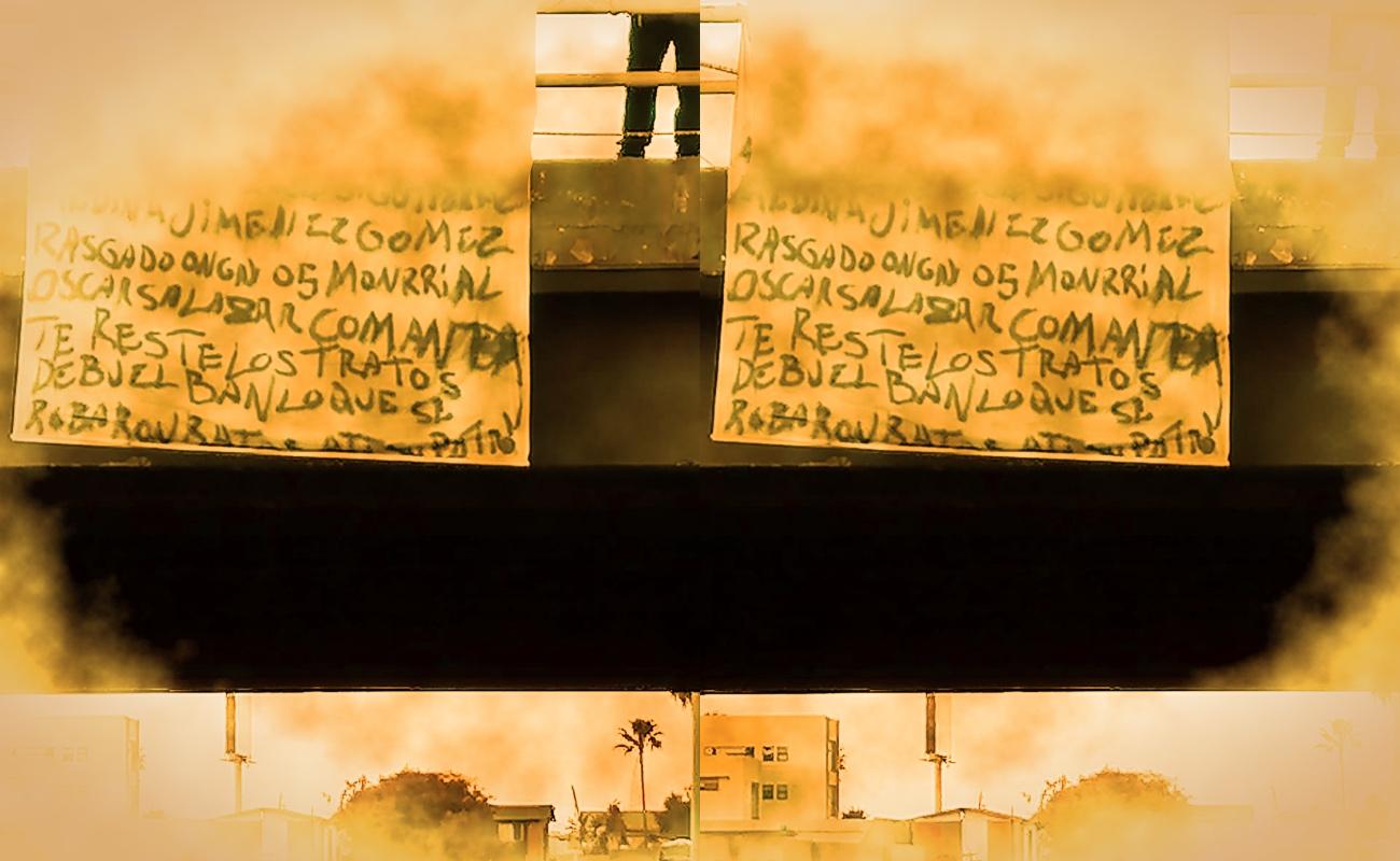 Cuelgan manta contra agentes de la GESI en el puente El Gallo