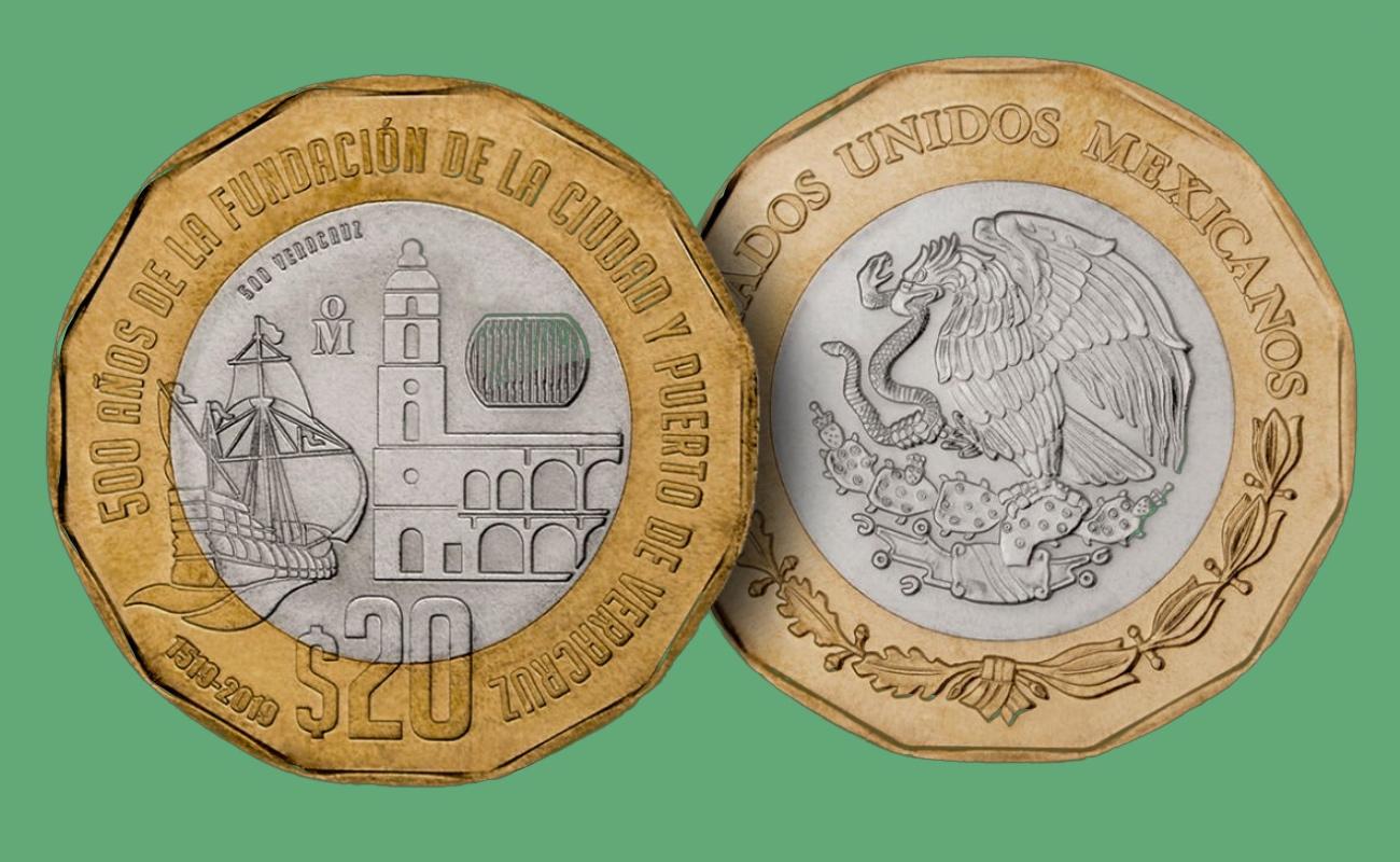 Ya circula la nueva moneda de 20 pesos