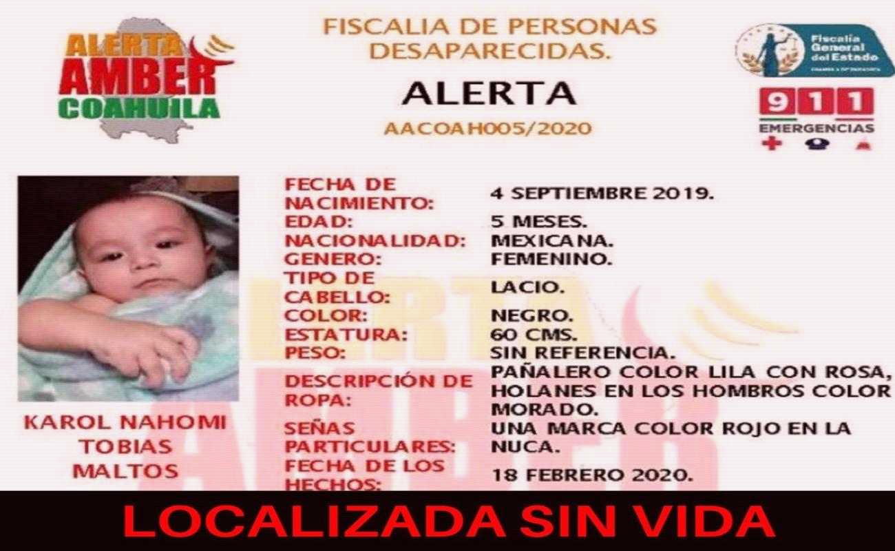 Localizan sin vida a bebé reportada desparecida ayer
