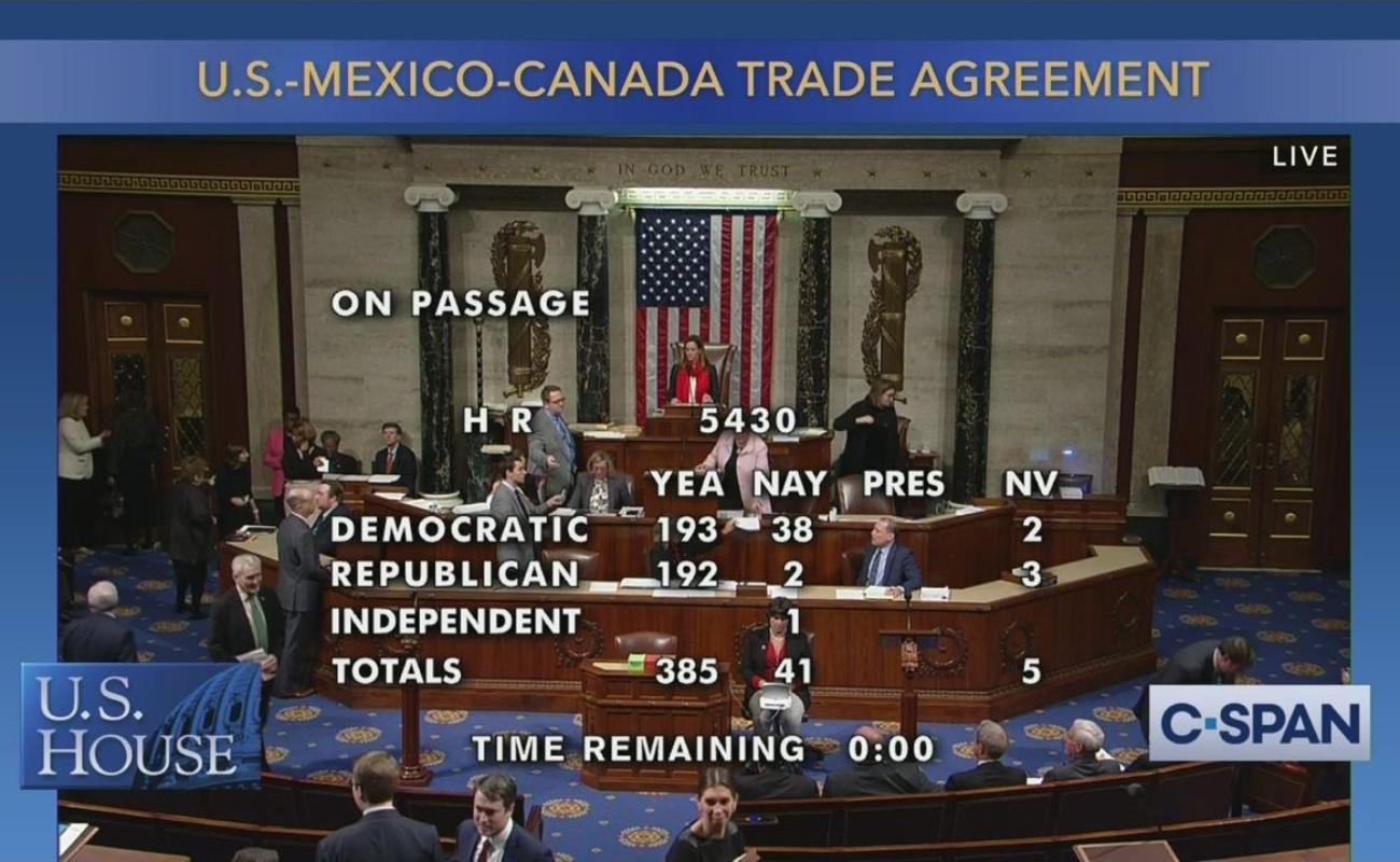Aprueba T-MEC Cámara de Representantes de Estados Unidos