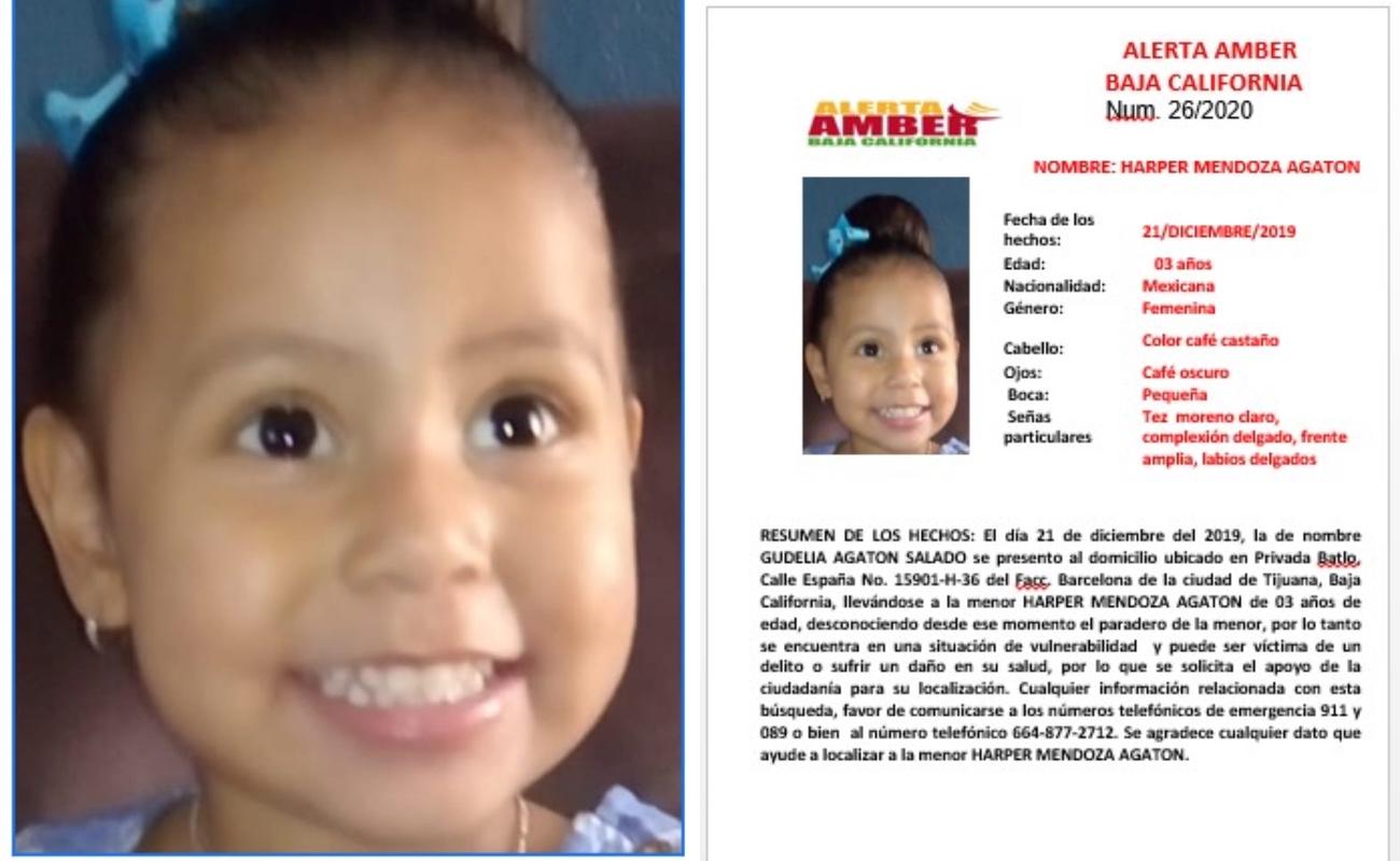 Activan Alerta Amber por niña de 3 años desaparecida en Tijuana