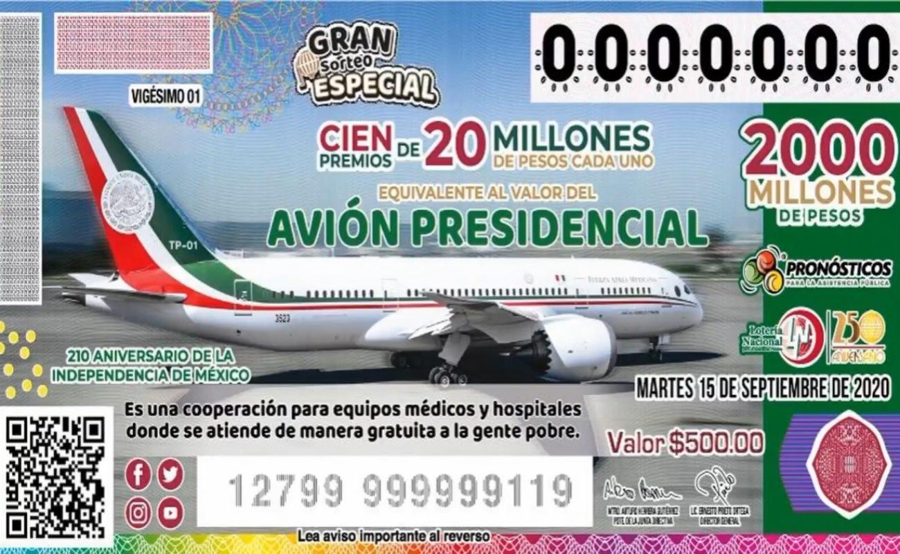 A un día de la rifa del avión presidencial, falta venderse el 30.5% de los cachitos