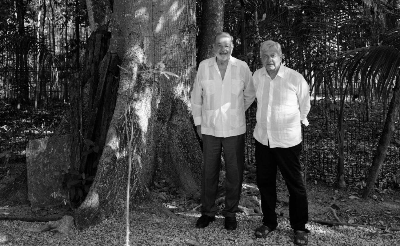 Conversan López Obrador y Carlos Slim conversan sobre el Tren Maya