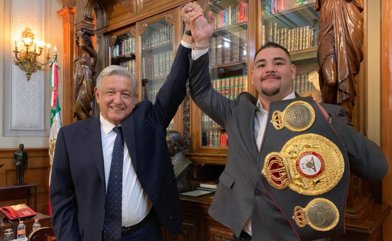 Recibe AMLO al campeón mundial Andy Ruiz Jr.