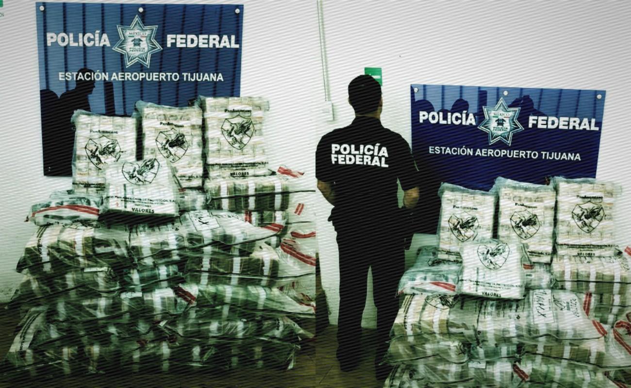 Decomisan 90 millones de pesos en Aeropuerto de Tijuana