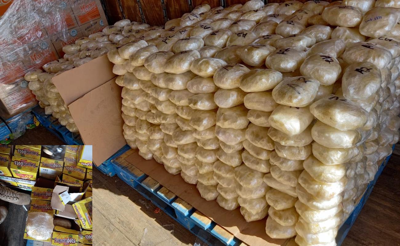 """Aseguran 648 kilos de metanfetamina ocultos en """"pulparindos"""", en El Rosario"""