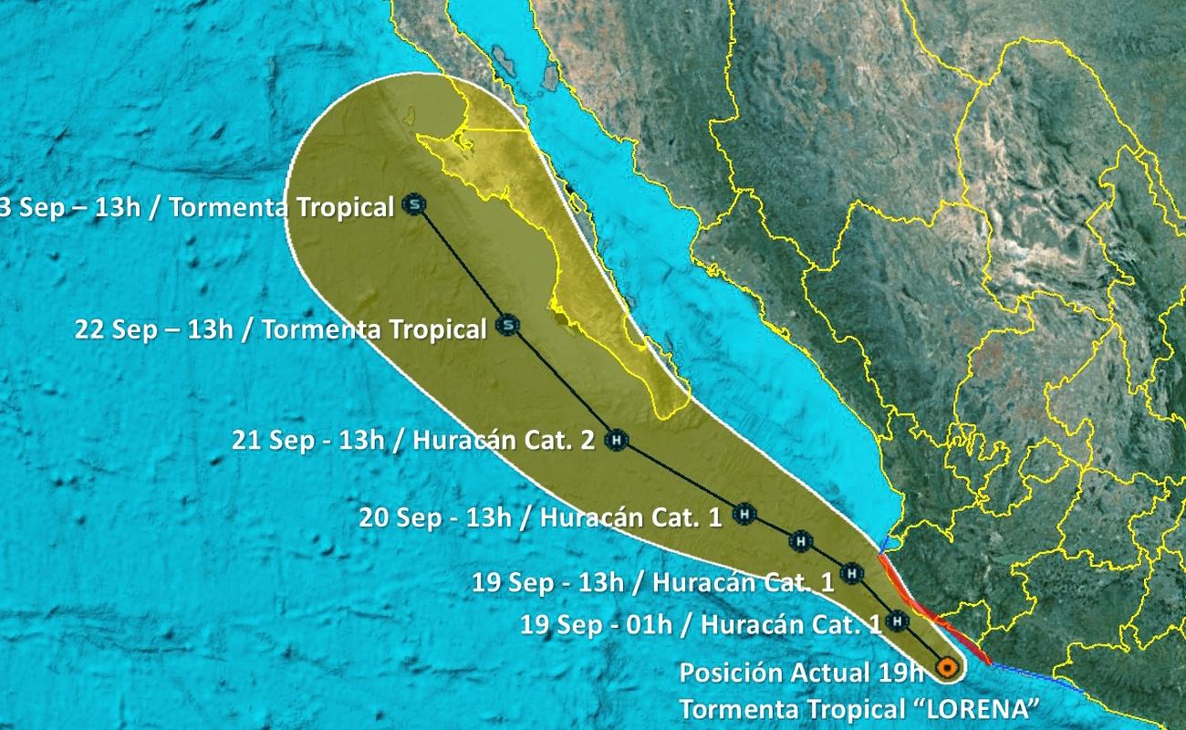 """Avanza tormenta tropical """"Lorena"""" hacia la península de BC"""